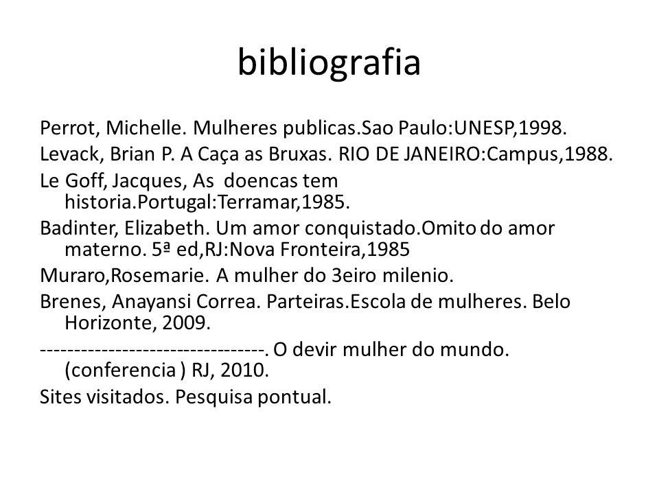 bibliografia Perrot, Michelle. Mulheres publicas.Sao Paulo:UNESP,1998. Levack, Brian P. A Caça as Bruxas. RIO DE JANEIRO:Campus,1988. Le Goff, Jacques