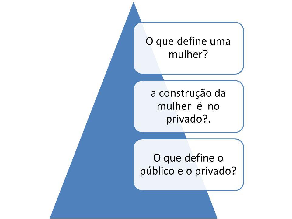 O que define uma mulher? a construção da mulher é no privado?. O que define o público e o privado?