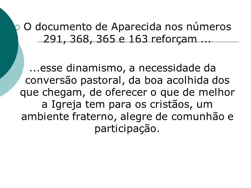 O documento de Aparecida nos números 291, 368, 365 e 163 reforçam......esse dinamismo, a necessidade da conversão pastoral, da boa acolhida dos que ch