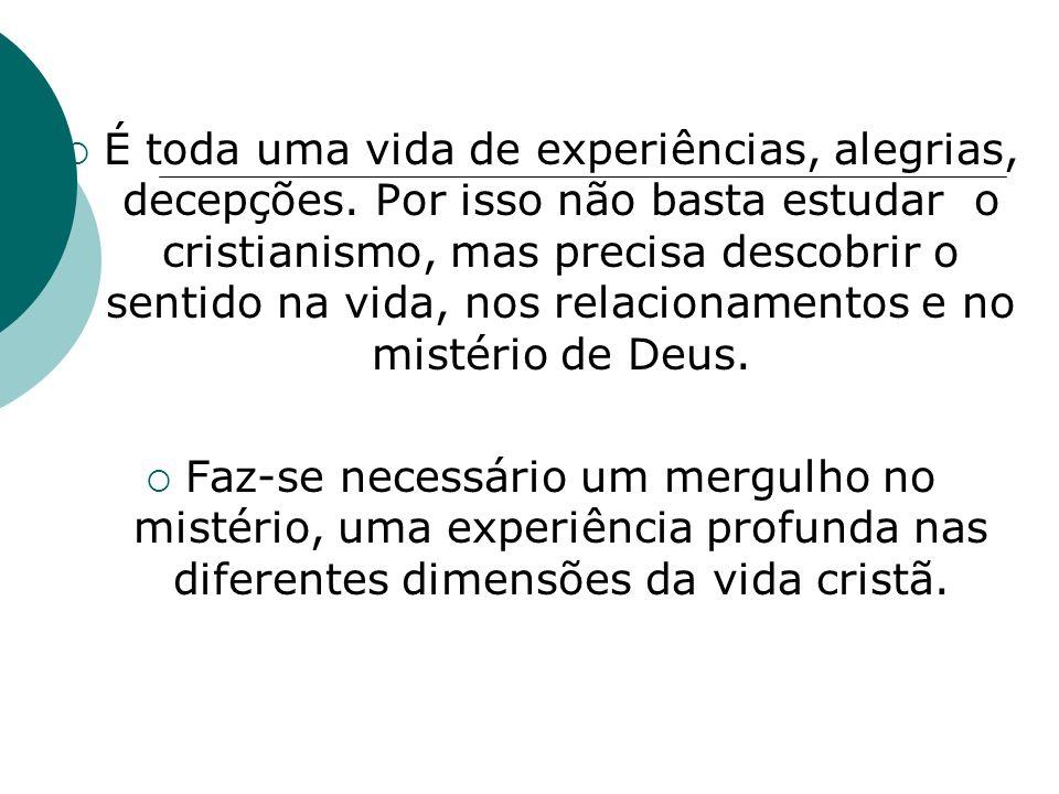 É toda uma vida de experiências, alegrias, decepções. Por isso não basta estudar o cristianismo, mas precisa descobrir o sentido na vida, nos relacion