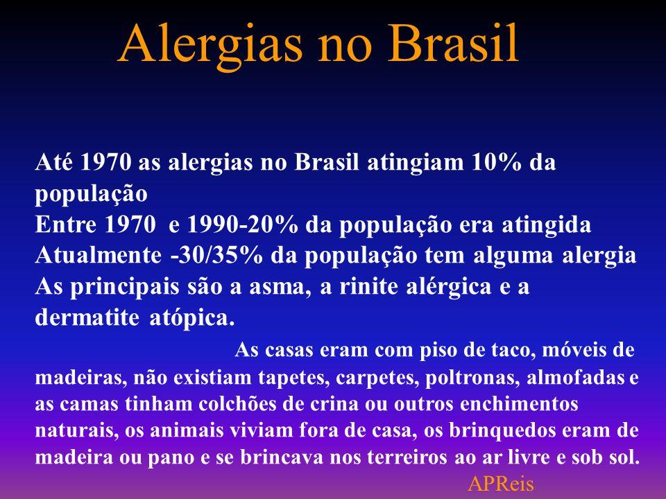 Alergias no Brasil Até 1970 as alergias no Brasil atingiam 10% da população Entre 1970 e 1990-20% da população era atingida Atualmente -30/35% da população tem alguma alergia As principais são a asma, a rinite alérgica e a dermatite atópica.