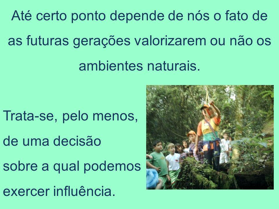 Até certo ponto depende de nós o fato de as futuras gerações valorizarem ou não os ambientes naturais. Trata-se, pelo menos, de uma decisão sobre a qu