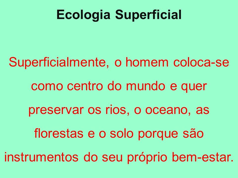 Ecologia Superficial Quando olha para o meio ambiente com esta preocupação, o homem só enxerga os seus próprios interesses, pois se considera a coisa mais importante que há no universo.