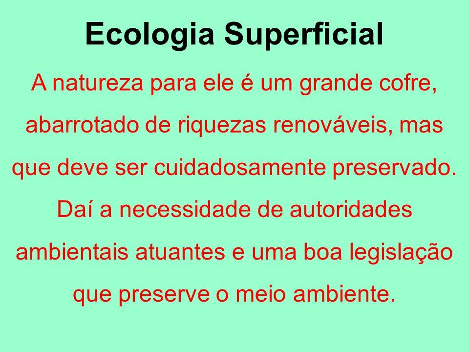 Ecologia Superficial A natureza para ele é um grande cofre, abarrotado de riquezas renováveis, mas que deve ser cuidadosamente preservado. Daí a neces