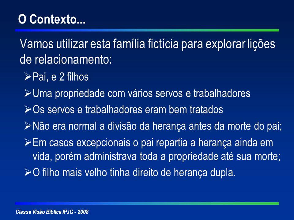 Classe Visão Bíblica IPJG - 2008 O Contexto... Vamos utilizar esta família fictícia para explorar lições de relacionamento: Pai, e 2 filhos Uma propri