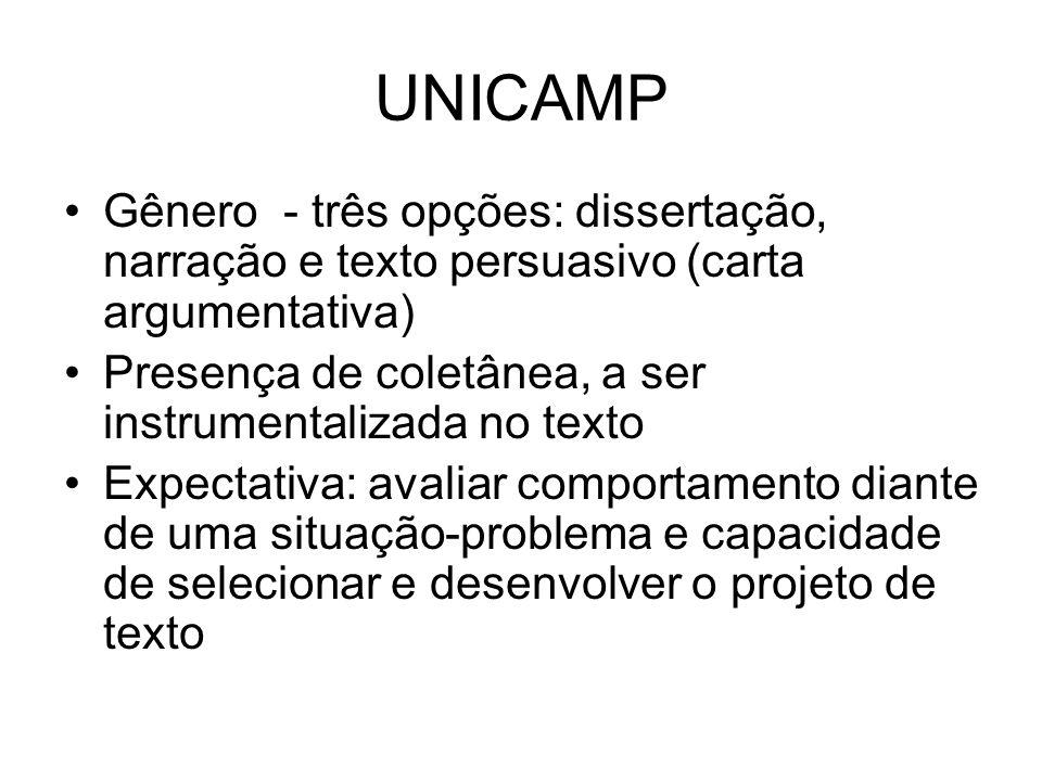UNICAMP Gênero - três opções: dissertação, narração e texto persuasivo (carta argumentativa) Presença de coletânea, a ser instrumentalizada no texto E