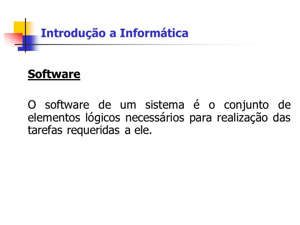 Introdução a Informática Software O software de um sistema é o conjunto de elementos lógicos necessários para realização das tarefas requeridas a ele.
