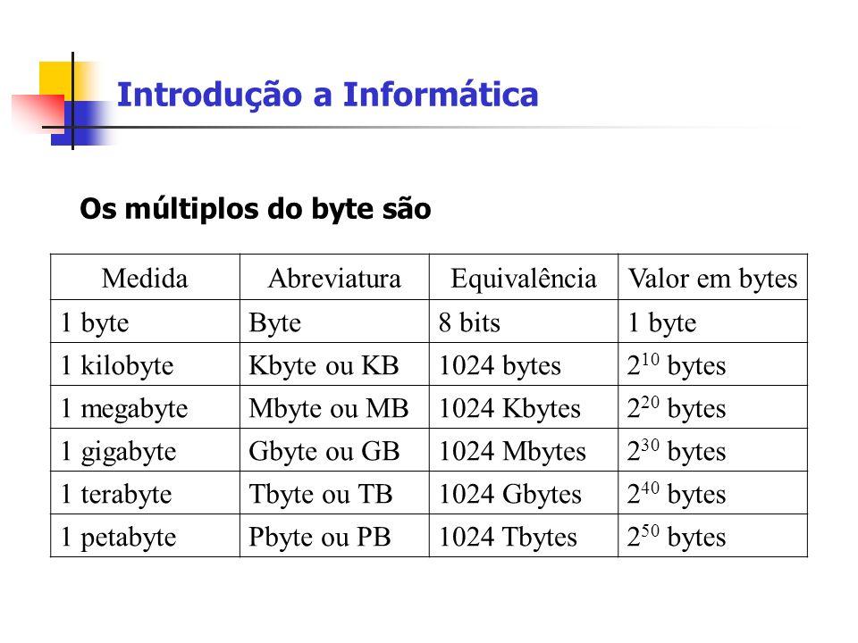 Introdução a Informática Os múltiplos do byte são MedidaAbreviaturaEquivalênciaValor em bytes 1 byteByte8 bits1 byte 1 kilobyteKbyte ou KB1024 bytes2