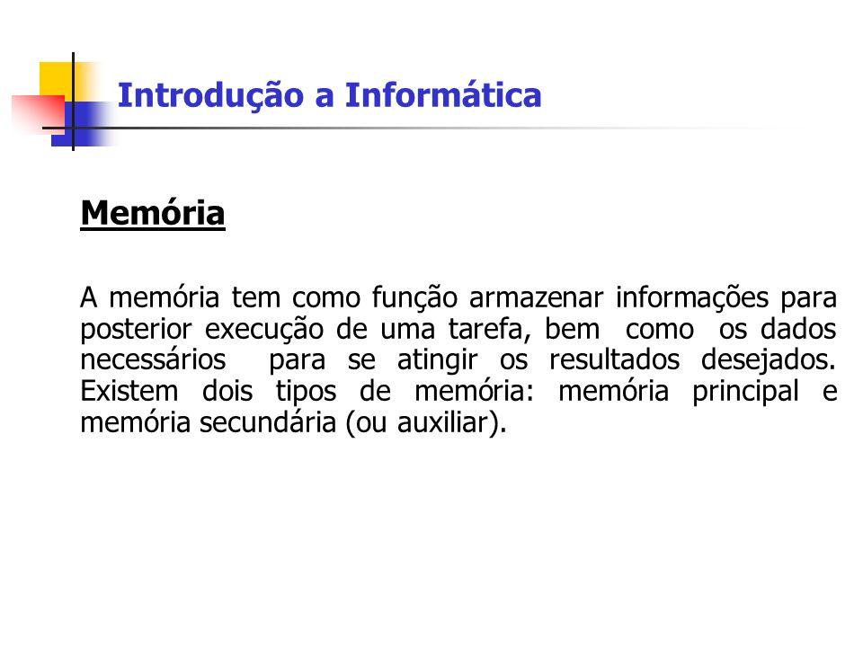 Introdução a Informática Memória A memória tem como função armazenar informações para posterior execução de uma tarefa, bem como os dados necessários