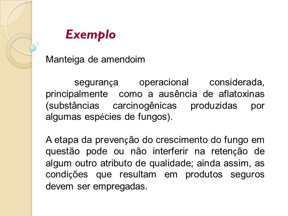 Exemplo Manteiga de amendoim seguran ç a operacional considerada, principalmente como a ausência de aflatoxinas (substâncias carcinogênicas produzidas