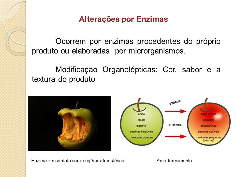 Alterações por Enzimas Ocorrem por enzimas procedentes do próprio produto ou elaboradas por microrganismos. Modificação Organolépticas: Cor, sabor e a
