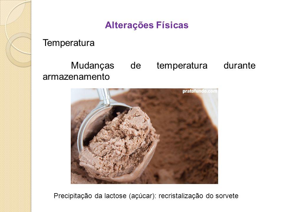 Alterações Físicas Temperatura Mudanças de temperatura durante armazenamento Precipitação da lactose (açúcar): recristalização do sorvete