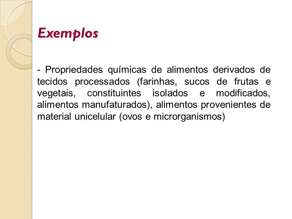 - Propriedades químicas de alimentos derivados de tecidos processados (farinhas, sucos de frutas e vegetais, constituintes isolados e modificados, ali