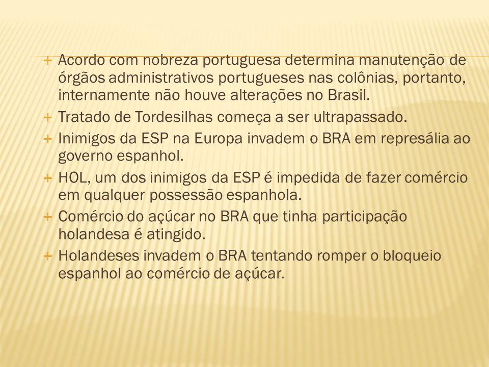 Acordo com nobreza portuguesa determina manutenção de órgãos administrativos portugueses nas colônias, portanto, internamente não houve alterações no