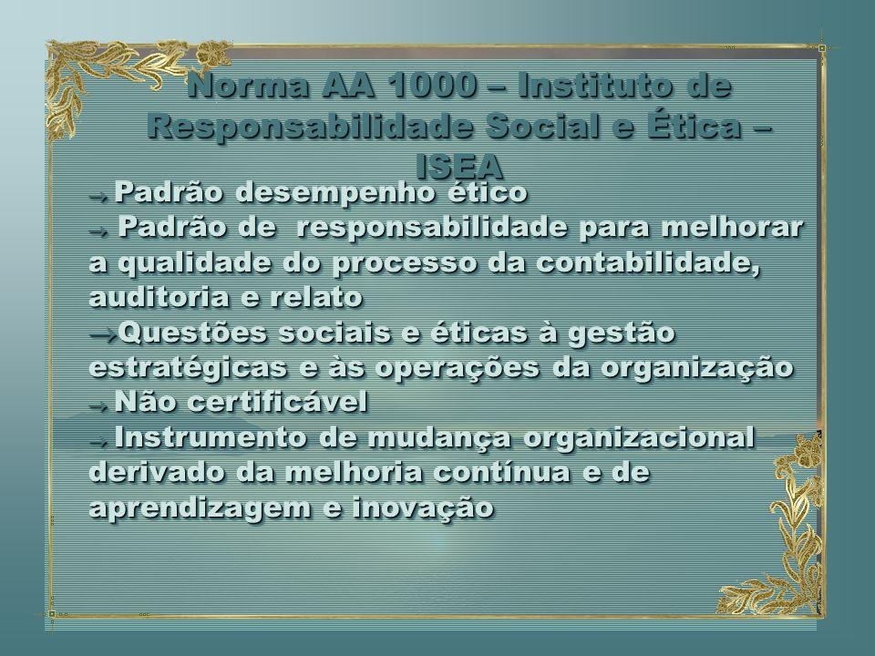 Padrão desempenho ético Padrão desempenho ético Padrão de responsabilidade para melhorar a qualidade do processo da contabilidade, auditoria e relato