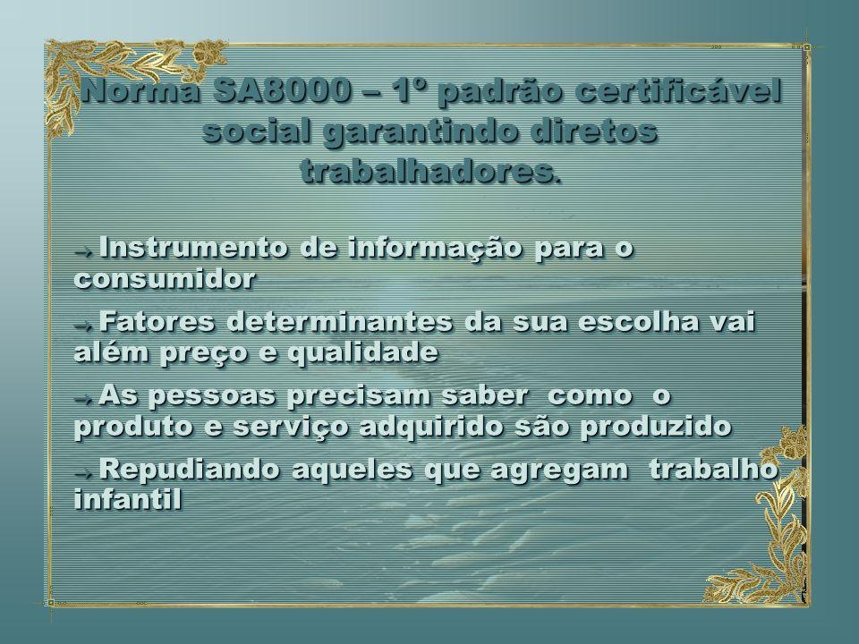 Norma SA8000 – 1º padrão certificável social garantindo diretos trabalhadores. Instrumento de informação para o consumidor Instrumento de informação p