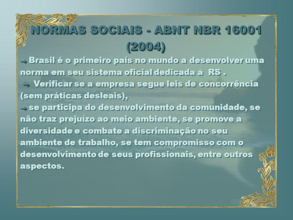 NORMAS SOCIAIS - ABNT NBR 16001 (2004) NORMAS SOCIAIS - ABNT NBR 16001 (2004) Brasil é o primeiro país no mundo a desenvolver uma norma em seu sistema