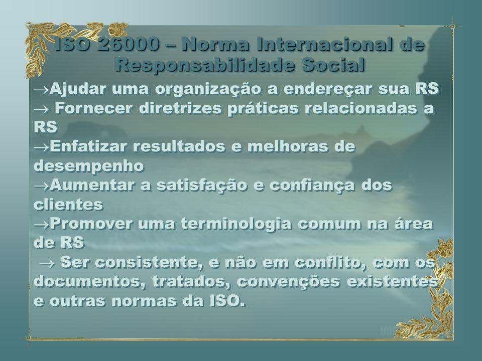 ISO 26000 – Norma Internacional de Responsabilidade Social Ajudar uma organização a endereçar sua RS Fornecer diretrizes práticas relacionadas a RS En