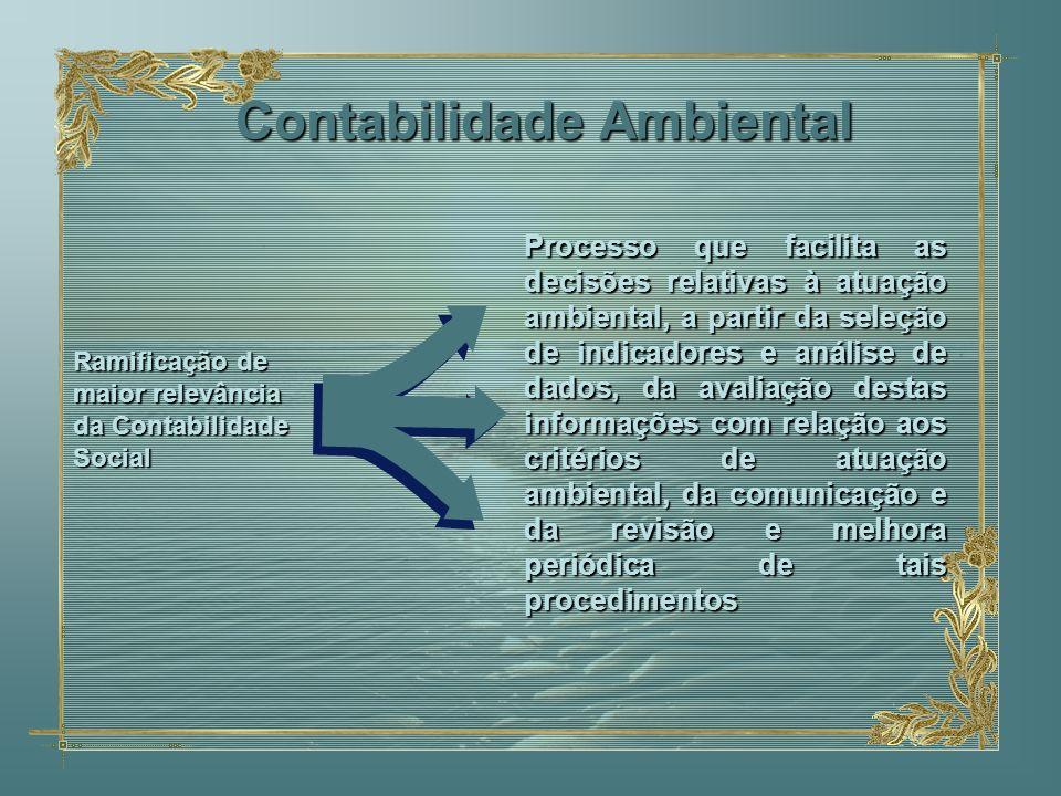 Contabilidade Ambiental Processo que facilita as decisões relativas à atuação ambiental, a partir da seleção de indicadores e análise de dados, da ava