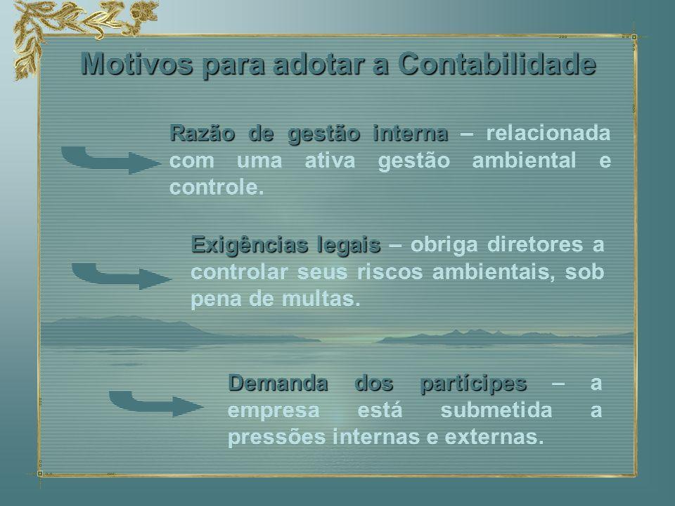 Motivos para adotar a Contabilidade Razão de gestão interna Razão de gestão interna – relacionada com uma ativa gestão ambiental e controle. Exigência