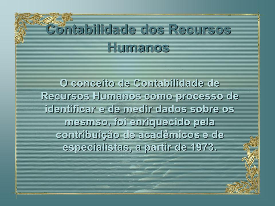 Contabilidade dos Recursos Humanos O conceito de Contabilidade de Recursos Humanos como processo de identificar e de medir dados sobre os mesmso, foi