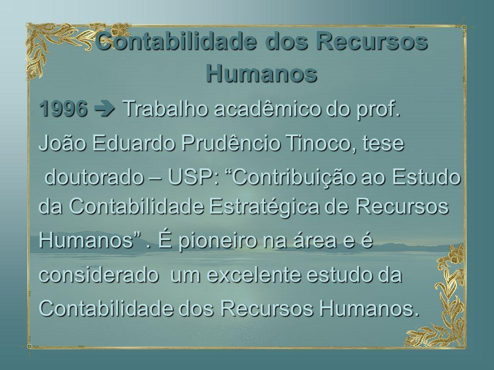 1996 Trabalho acadêmico do prof. João Eduardo Prudêncio Tinoco, tese doutorado – USP: Contribuição ao Estudo da Contabilidade Estratégica de Recursos