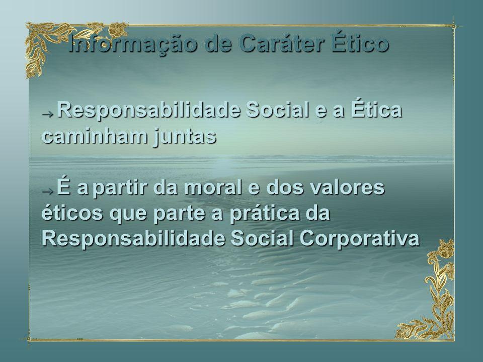 Informação de Caráter Ético Responsabilidade Social e a Ética Responsabilidade Social e a Ética caminham juntas É apartir da moral e dos valores ético