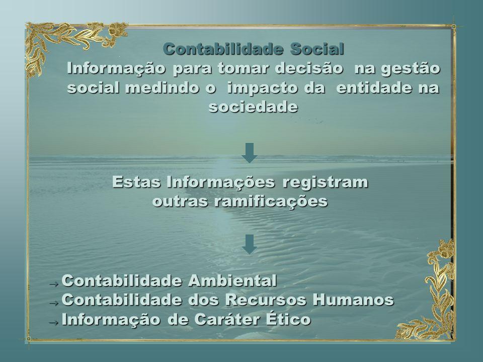 Contabilidade Social Informação para tomar decisão na gestão social medindo o impacto da entidade na sociedade Contabilidade Ambiental Contabilidade A