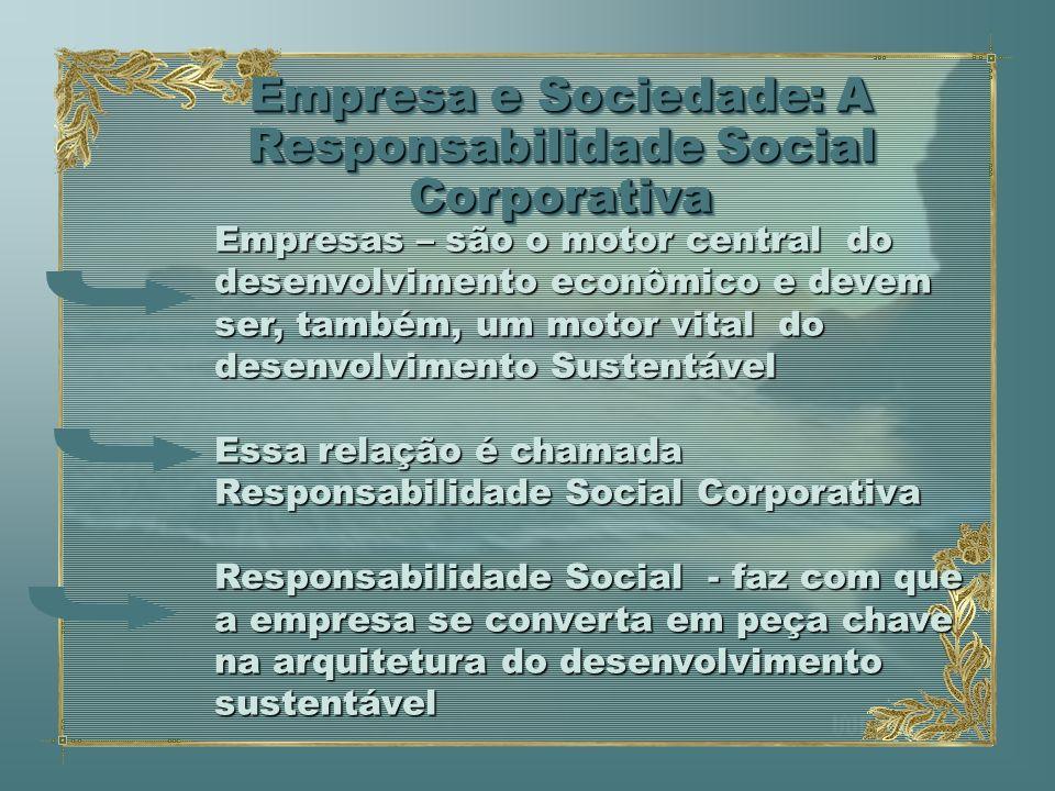 Empresa e Sociedade: Responsabilidade Social Corporativa As empresas são agentes transformadores, tendo uma influência muito grande nos recursos humanos, sociedade e meio ambiente Vários projetos são criados atingindo funcionários, público externo.
