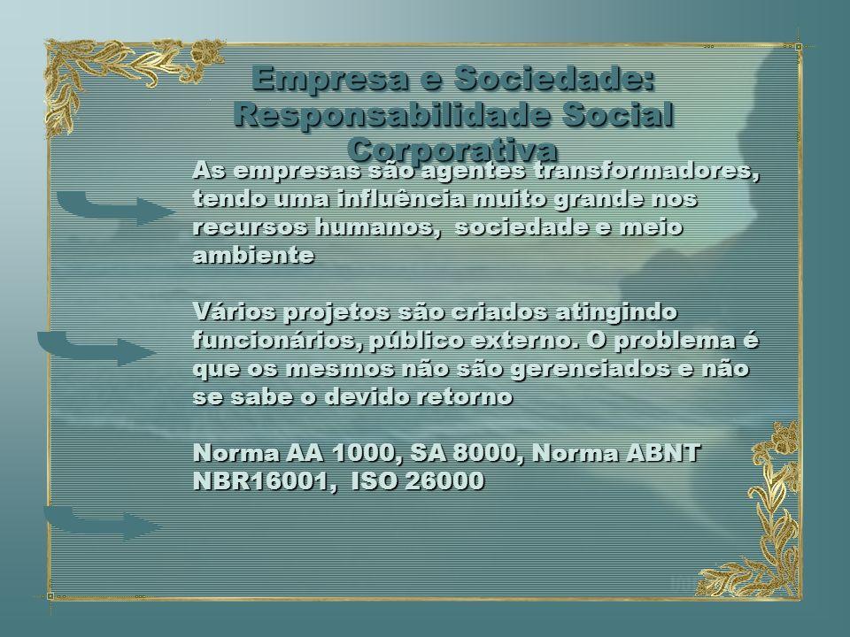 Empresa e Sociedade: Responsabilidade Social Corporativa As empresas são agentes transformadores, tendo uma influência muito grande nos recursos human