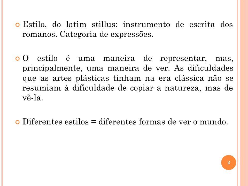 Estilo, do latim stillus: instrumento de escrita dos romanos. Categoria de expressões. O estilo é uma maneira de representar, mas, principalmente, uma