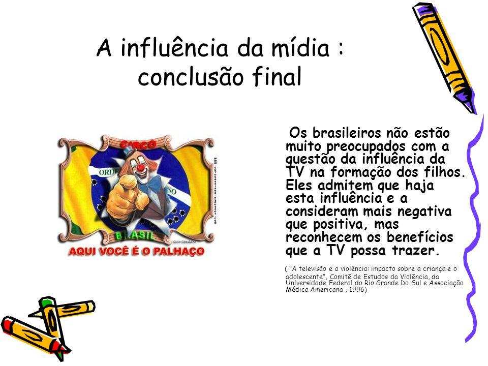 A influência da mídia : conclusão final Os brasileiros não estão muito preocupados com a questão da influência da TV na formação dos filhos. Eles admi