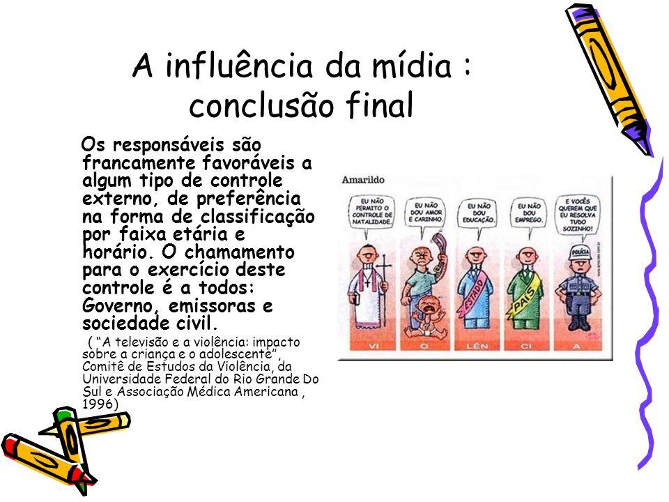 A influência da mídia : conclusão final Os responsáveis são francamente favoráveis a algum tipo de controle externo, de preferência na forma de classi