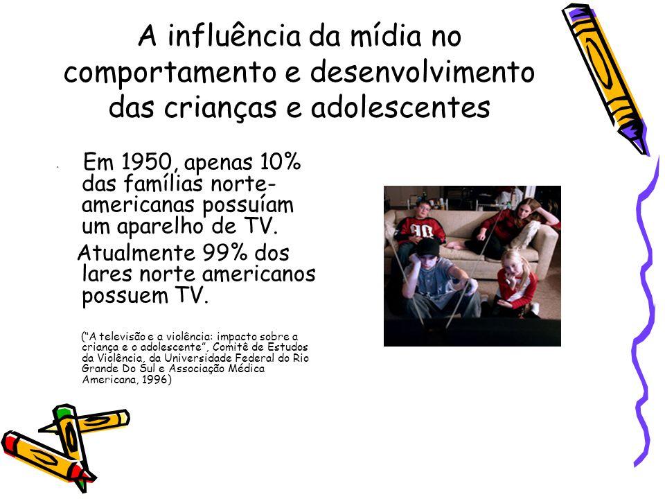 A influência da mídia no comportamento e desenvolvimento das crianças e adolescentes Em 1950, apenas 10% das famílias norte- americanas possuíam um ap