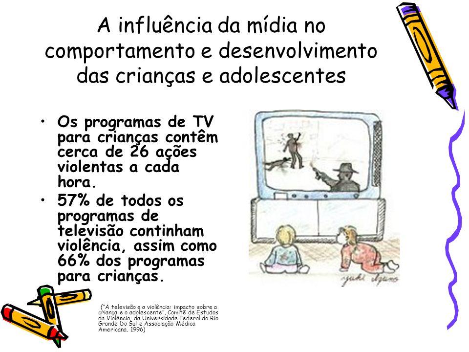 A influência da mídia no comportamento e desenvolvimento das crianças e adolescentes Os programas de TV para crianças contêm cerca de 26 ações violent