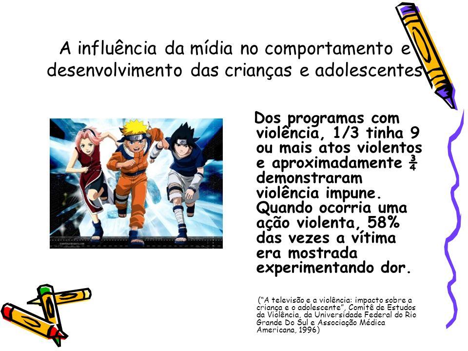 A influência da mídia no comportamento e desenvolvimento das crianças e adolescentes Dos programas com violência, 1/3 tinha 9 ou mais atos violentos e