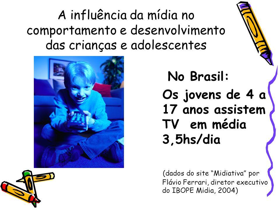 A influência da mídia no comportamento e desenvolvimento das crianças e adolescentes No Brasil: Os jovens de 4 a 17 anos assistem TV em média 3,5hs/di