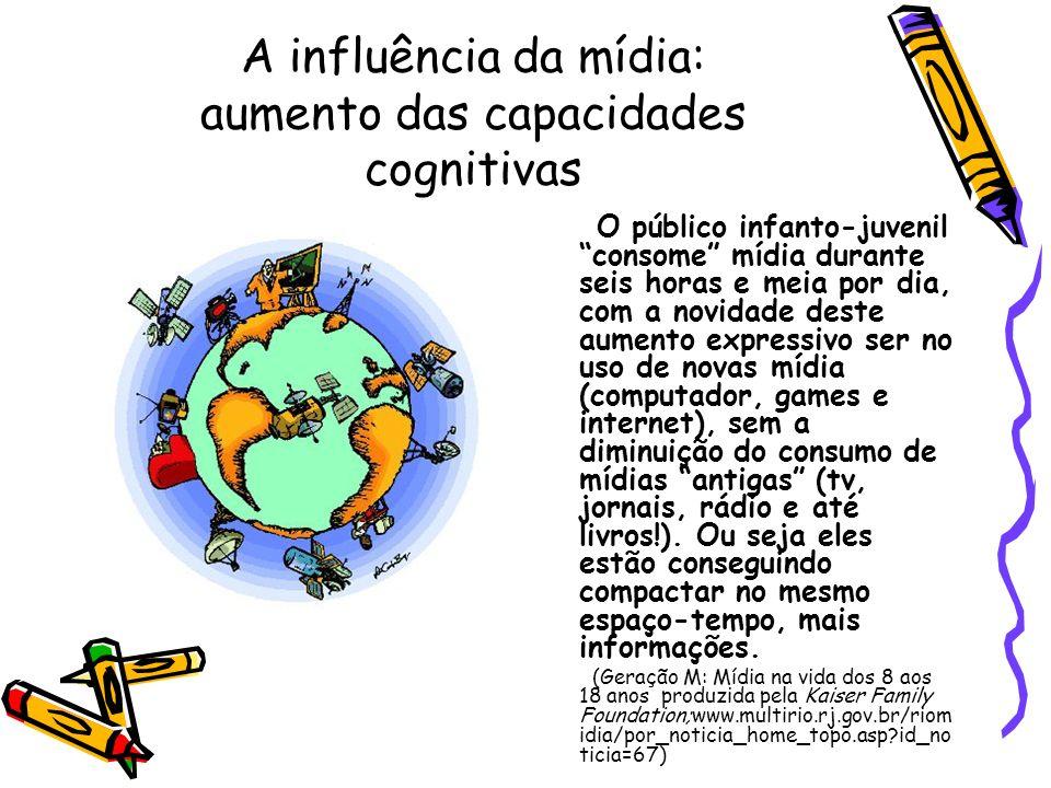 A influência da mídia: aumento das capacidades cognitivas O público infanto-juvenil consome mídia durante seis horas e meia por dia, com a novidade de