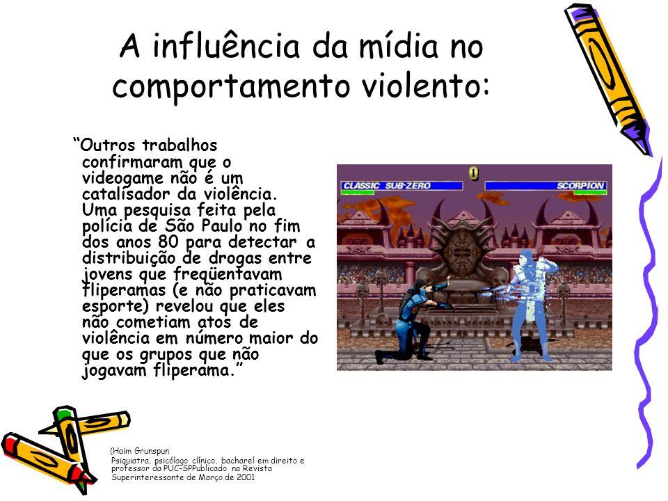 A influência da mídia no comportamento violento: Outros trabalhos confirmaram que o videogame não é um catalisador da violência. Uma pesquisa feita pe