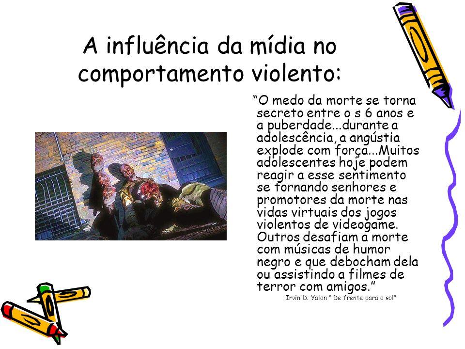 A influência da mídia no comportamento violento: O medo da morte se torna secreto entre o s 6 anos e a puberdade...durante a adolescência, a angústia