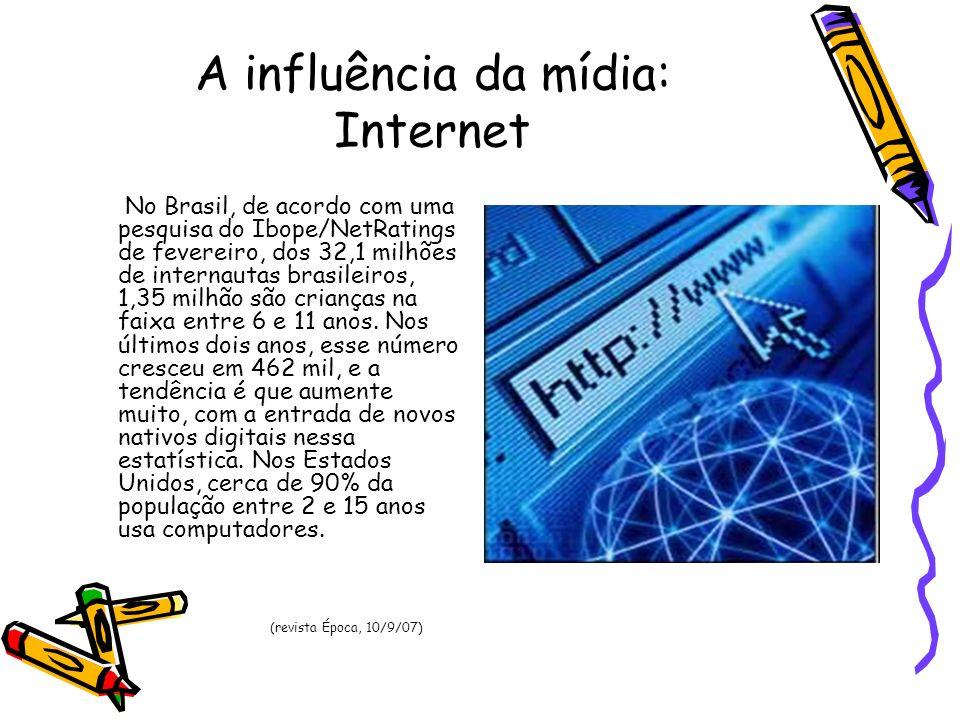 A influência da mídia: Internet No Brasil, de acordo com uma pesquisa do Ibope/NetRatings de fevereiro, dos 32,1 milhões de internautas brasileiros, 1