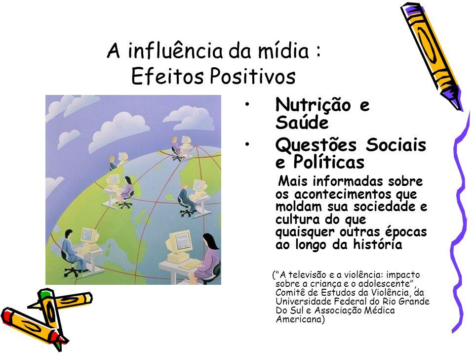 A influência da mídia : Efeitos Positivos Nutrição e Saúde Questões Sociais e Políticas Mais informadas sobre os acontecimentos que moldam sua socieda
