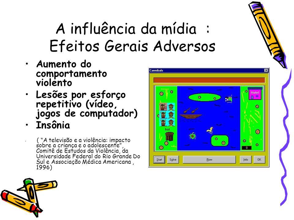 A influência da mídia : Efeitos Gerais Adversos Aumento do comportamento violento Lesões por esforço repetitivo (vídeo, jogos de computador) Insônia (