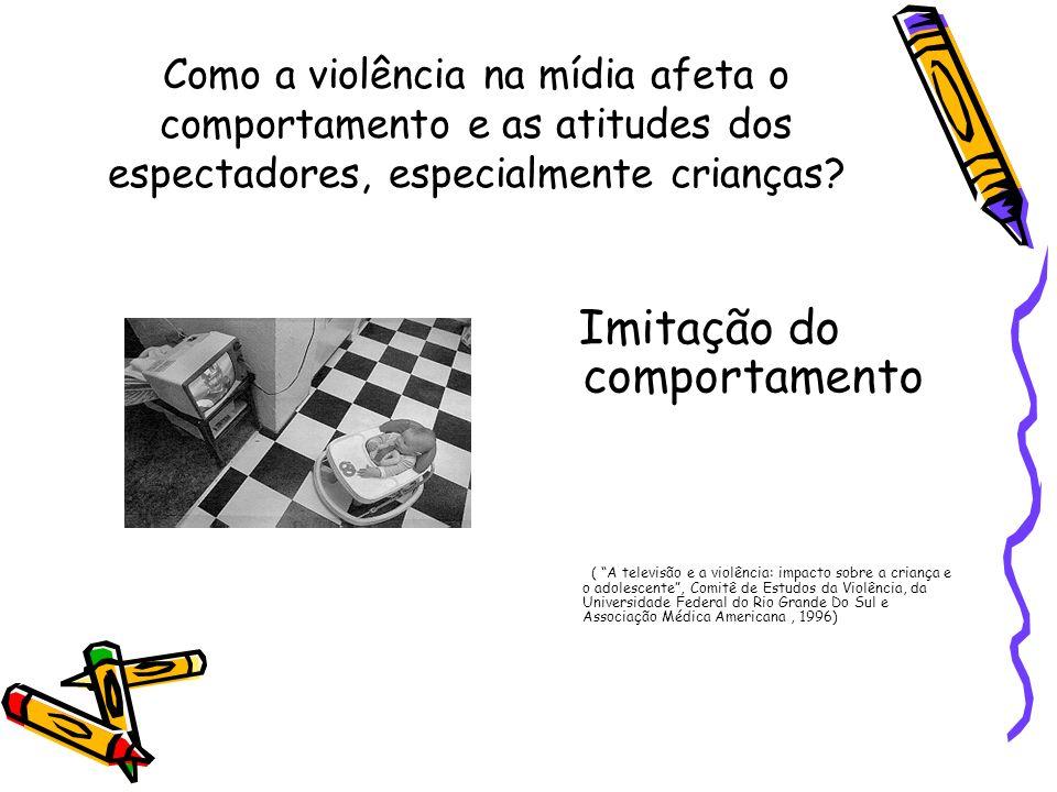 Como a violência na mídia afeta o comportamento e as atitudes dos espectadores, especialmente crianças? Imitação do comportamento ( A televisão e a vi
