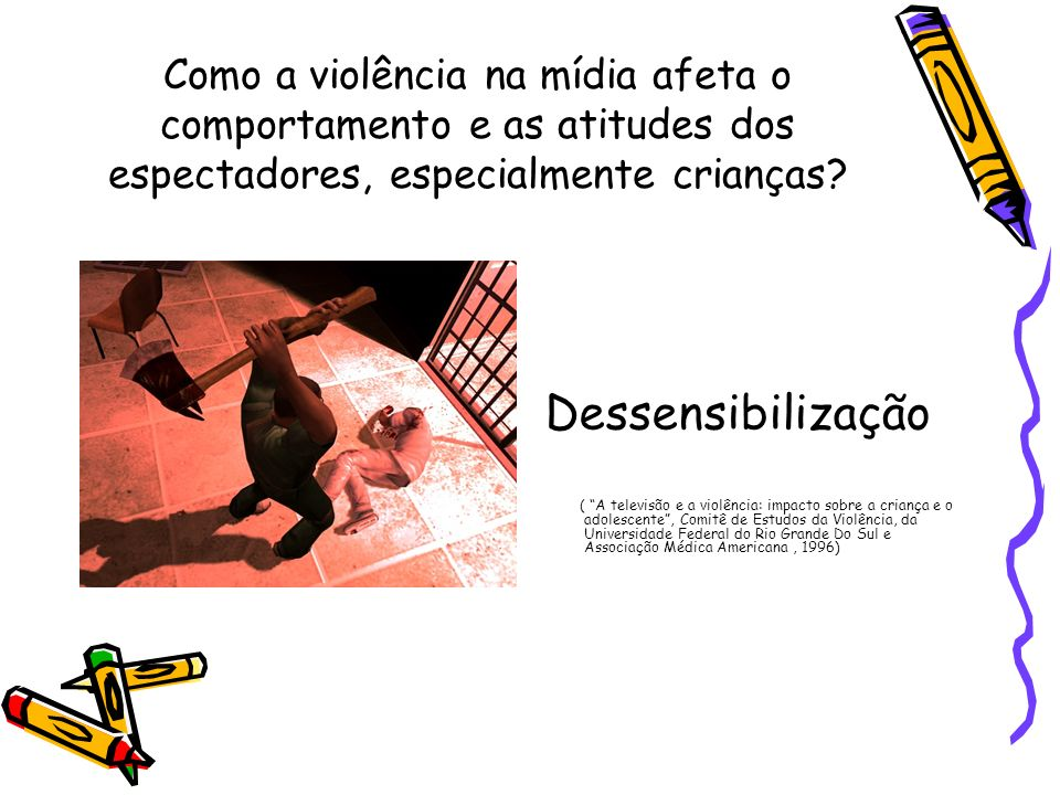 Como a violência na mídia afeta o comportamento e as atitudes dos espectadores, especialmente crianças? Dessensibilização ( A televisão e a violência: