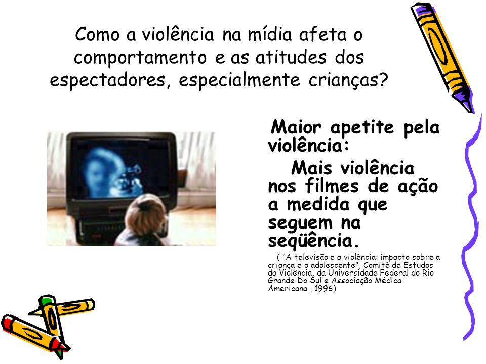 Como a violência na mídia afeta o comportamento e as atitudes dos espectadores, especialmente crianças? Maior apetite pela violência: Mais violência n