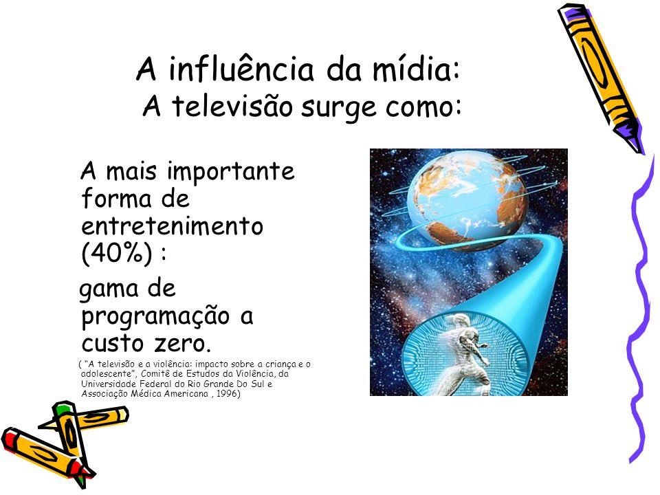 A influência da mídia: A televisão surge como: A mais importante forma de entretenimento (40%) : gama de programação a custo zero. ( A televisão e a v