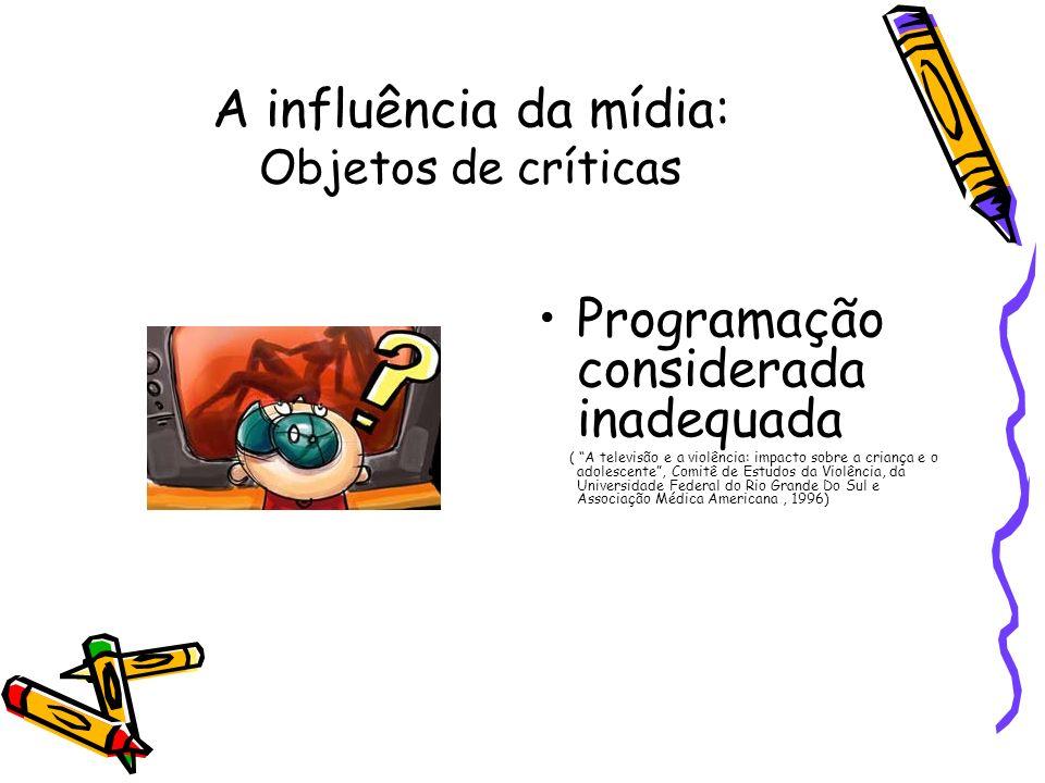 A influência da mídia: Objetos de críticas Programação considerada inadequada ( A televisão e a violência: impacto sobre a criança e o adolescente, Co