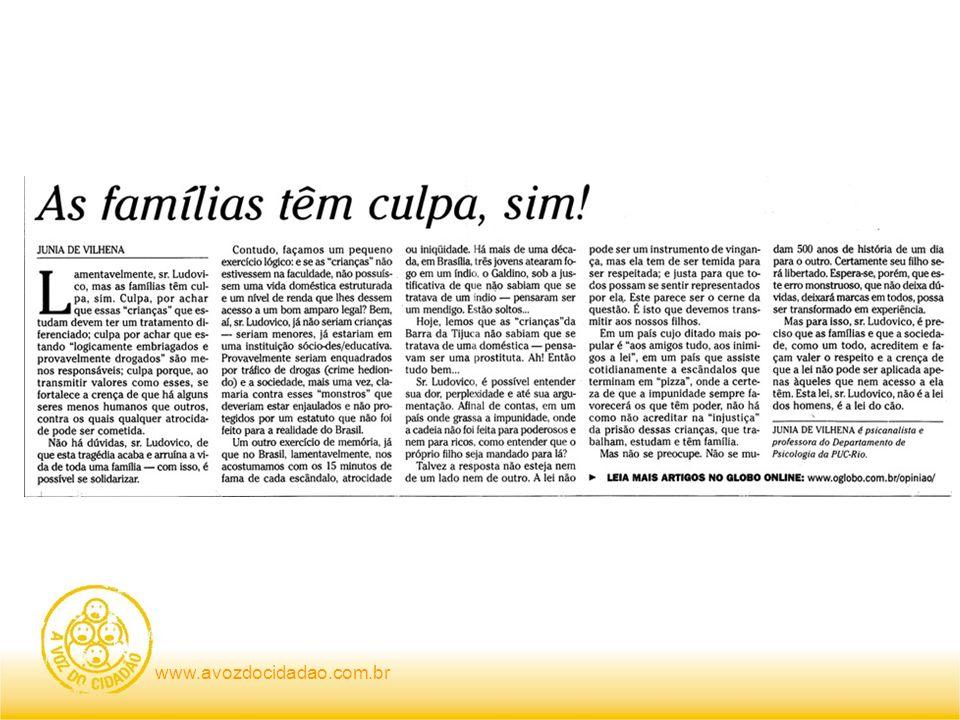 Eu não aceito a parte da culpa que o jornalista Nelito Fernandes e a psicanalista Junia de Vilhena querem me impor em seus respectivos artigos da última sexta-feira aqui mesmo neste jornal.
