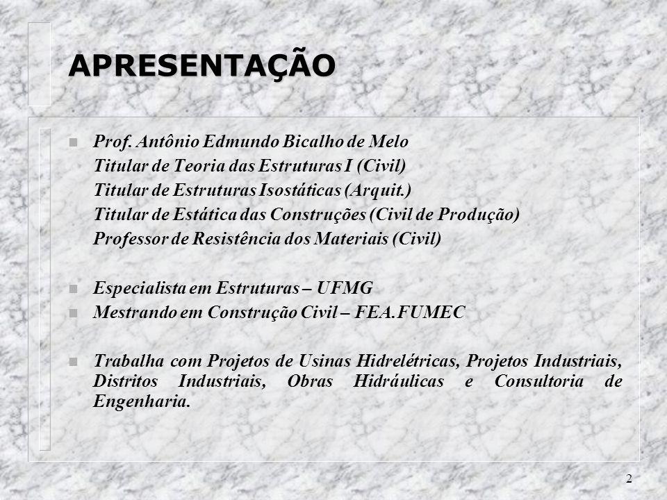 2 APRESENTAÇÃO n Prof. Antônio Edmundo Bicalho de Melo Titular de Teoria das Estruturas I (Civil) Titular de Estruturas Isostáticas (Arquit.) Titular